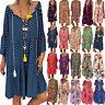 Womens Plus Size Boho Floral Print Mini Dress Baggy Loose Summer Casual Sundress