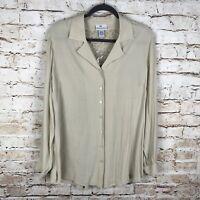 NWOT Soft Surroundings Womens Beige Size Large Button Front Lace Back Blouse