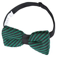 DQT Knit Knitted Diagonal Stripe Black Green Classic Mens Pre-Tied Bow Tie