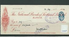 wbc. - CHEQUE - CH1008 - USED -1934- NATIONAL BANK of SCOTLAND, HAWICK