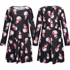 Womens Long Sleeve Christmas Jumper Dress Ladies Santa Tunic Mini Swing Skirt