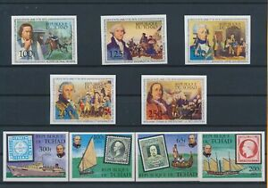 LN23256 Chad imperf historical figures fine lot MNH