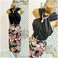 EVITA 💋 UK 14 New Twisted Bust Floral Backless Midi Wiggle Dress ~Free Postage~