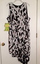 Apt 9 Size XL NWT Black White Sleeveless Asymmetrical Hem A Line Dress
