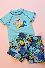 Gymboree Infant Baby Boy 0-3 Months Lemur Monkey Blue Swimsuit & Rash Guard Top