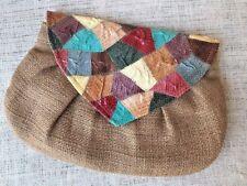 Vintage Loredana Burlap & Snakeskin Purse Multi Color Patchwork Boho Clutch