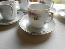 Fine Bone China Porcelain Espresso Coffee Cup and Saucer Set of 5 English Roses