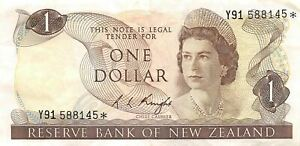 New Zealand $1 ND.1975  P 163c Series Y91 *Replacement* Circulated Banknote LBMt