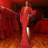 Women Sparkling Sequin Skirt Deep V-neck Long Sleeve Party Fishtail Dress