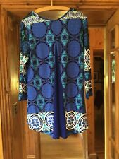 Joseph Ribkoff lovely patterned top Predom. blues + white and black accents  S12