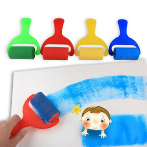 4Pc Foam Sponge Painting Roller Brushes for Kids Early Learning Arts Drawing LL