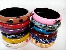 Multicolored Wooden Bangles Set of 12 Hand Paint Fashion Jewelry Gift Item