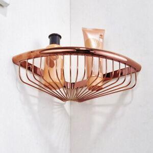 Rose Gold Copper Brass Wall Mounted Bathroom Shower Basket Storage Shelf ex002
