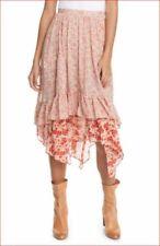 new FREE PEOPLE women long skirt OB1064156 rust red combo sz 12 $128