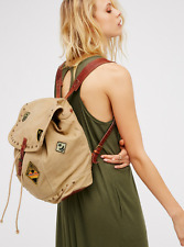 NEW ANTHROPOLOGIE FREE PEOPLE THUNDERBIRD BACKPACK CANVAS & LEATHER PATCHES