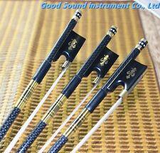 NEW 4/4 Advanced Plaid Carbon Fiber Violin Bow Natural Mongolian Horse hair 5pc