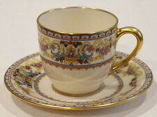 DISCONTINUED LENOX CHINA RENAISSANCE DEMITASSE / DEMI CUP & SAUCER  BROWN MARK