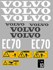 VOLVO EC70 Escavatore COMPLETO ADESIVO DECALCOMANIA Set con Safety AVVERTIMENTO