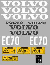 Volvo EC70 Aufkleber Bagger Komplettset mit Sicherheit Warnung