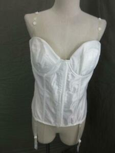 38C Frederick's of Hollywood White Strapless Back Lace Padded Shaping Corset 4E