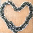 2M Long Dark Green & White Tinsel Christmas Decorations Tree Fashion Decor IO