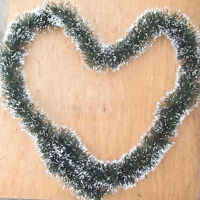 2M Long Dark Green & White Tinsel Christmas Decorations Tree Fashion Decor UK
