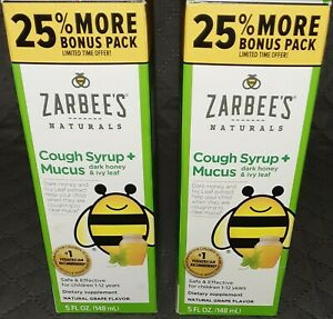 Zarbee's Naturals Cough Syrup + Mucus Natural Grape Flavor 5oz. 2PK Exp 6/21+