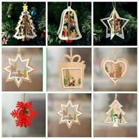 3D Wooden Christmas Tree Hanging Ornaments Decor Wood Embellishments Craft DIY