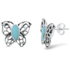 Turqoise Filigree Style Butterfly .925 Sterling Silver Earring