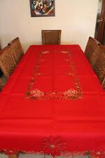 Tailor Made Embroidered Christmas Red Tablecloth 150X230cm suit 6-8 chair Xmas