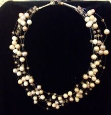 NEW HANDMADE 8 STRAND FRESHWATER CREAM GREY PEARLS CRYSTALS  FLOATING NECKLACE
