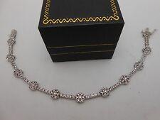 "Amazing 14k Solid White Gold 2Ctw Diamond Halo Link Tennis Bracelet 7.25"" Long"