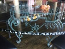 """LARGE 3/4"""" x 72"""" round glass dining table on iron base. Quality glass"""