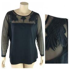 Denim 24/7 Top Women Plus 3X Black Illusion Panel Chest, Back  & Long Sleeve New