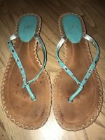 Cole Haan 9.5 B Teal Womens Leather Shoes Sandals Rhinestones T Strap Wedge