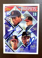 "JASON GIAMBI A""s - GEORGE ARIAS - LUIS ORTIZ Red Sox 1994 Topps TRIPLE AUTOGRAPH"