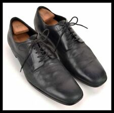 HUGO BOSS Solid Black Leather Mens PTB Plain Toe Blucher Oxford Dress Shoes - 13