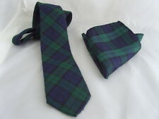 "TARTAN Black Watch Polyester Mens Slim Tie and Hankie Set-Tie-3"" = 7.5cm Width"