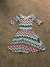 Bongo Size Small Geometric Coral, Teal, and White Long Sleeve Flare Dress