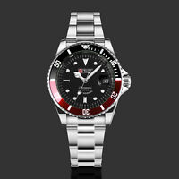 Military Royale Mens Watch Automatic Silver Case Stainless Steel Strap Date Army