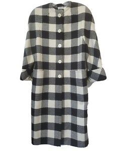 Vintage Valentino Boutique Shepherd Check Cashmere Long Coat 10 Black & White