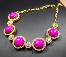 Gold Plate Pink JADE Circle Cabochon Bangle Bracelet Diamond Imitation 301650 US