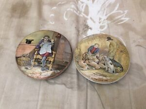 2 Coloured Pot Lids The Game Bag & The Time Nice Examples See Scans