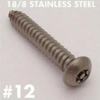 (25/pk) 12 x 1-1/2 Button Head Torx Tamper Proof Sheet Metal Screw 18-8 SS