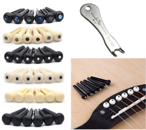Guitar Bridge Pins Acoustic Folk Ukulele White Black Pin Puller Nail String Pin