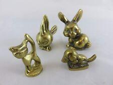 Gruppe Messing Figuren Brass Figure Hund Katze Fisch Hase 60 er Jahre