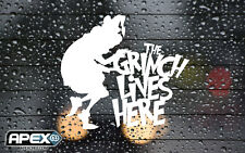 The Grinch Lives Here - Christmas Vinyl Sticker - White