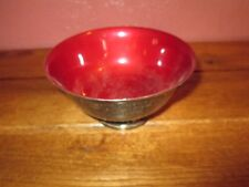 Vintage REED & BARTON Silver Plate Red Enamel Bowl #102 Trans Superior Race 1977