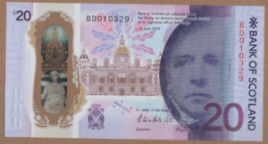 BANK OF SCOTLAND £20 POLYMER NOTE UNCIRCULATED FREEPOST PREFIX  BD 010318 - 0328