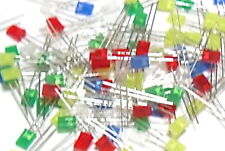 100pcs Mixed Pack Diffused Rectangle LED 2x5x7mm Red/Yellow/Green/Blue/White